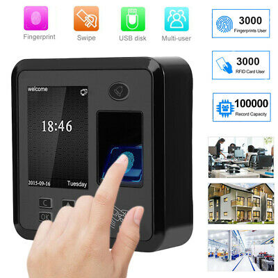 2.4in LCD Fingerprint Time Clock WG26/34 Attendence Machine Recoder  ID Card 12V • 58.66£