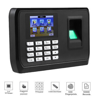 £44.51 • Buy 2.4in TFT LCD Time Clock Smart Fingerprint Security Password For Office Hotel