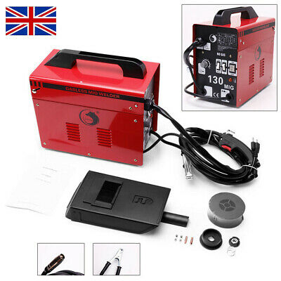 Gasless MIG 130 Welder Amp Auto Flux Wire Feed Trade Welding Machine 230V No Gas • 86.99£