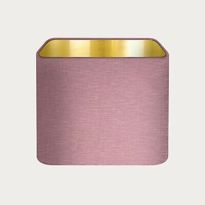 £36.50 • Buy Lampshade Mauve Textured 100% Linen Brushed Gold Rounded Square Light Shade