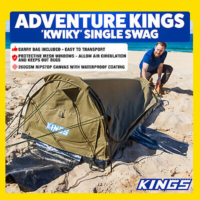 AU159.02 • Buy Single Swag Camping Outdoor 50mm Mattress Dome Biker Kings Canvas Tent Big Daddy