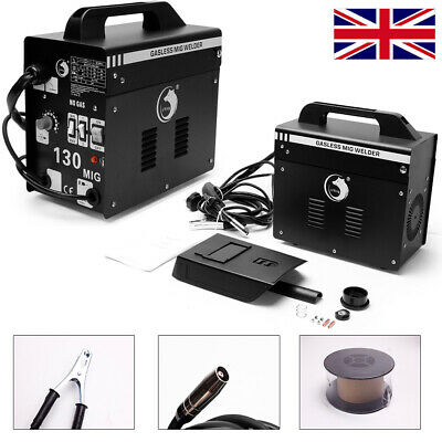 Gasless MIG 130 Welder New No Gas 120 Amp Flux Wire NON LIVE TORCH Portable 240V • 86.99£