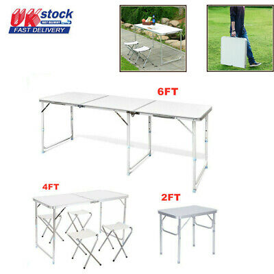 2FT/4FT/6FT Portable Folding Camping Picnic Table Party Outdoor Garden BBQ Stool • 29.99£