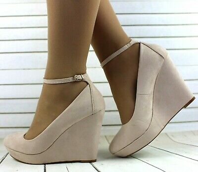 Ladies Beige Faux Suede Ankle Strap Wedge Heel Pumps Court Party Shoes Sizes • 9.99£