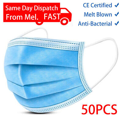 AU18.99 • Buy 50Pcs/Pack Medical Mask Face 3 Layers  Disposable Surgical Grade Mel Stock