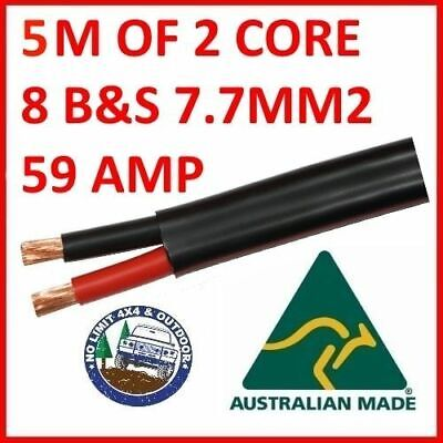 AU35 • Buy TWIN CORE 8MM CABLE X 5 METRE 5M BATTERY CARAVAN TRAILER 4X4 8 BNS WIRE SHEATH 2