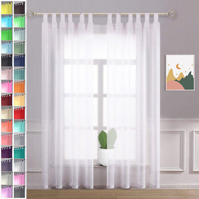 £12.99 • Buy A Pair Of High Quality Voile Curtain 2 Panels 10cm Long Tab Top Solid Sheer