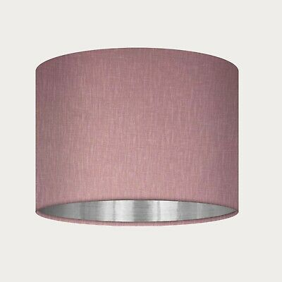 £38.50 • Buy Lampshade Mauve Textured 100% Linen Brushed Silver Drum Light Shade