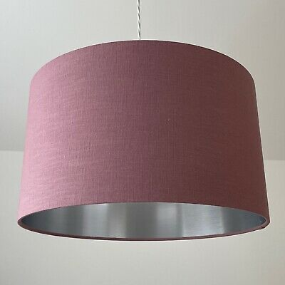 £38.50 • Buy Mauve 100% Textured Linen Drum Lampshade With Brushed Silver Ceiling Shade