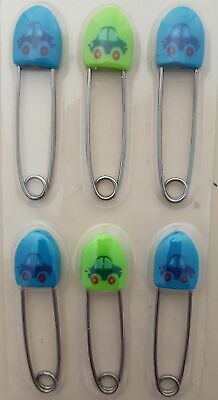 £2.25 • Buy Pack Of 6 Beautiful Beginnings Safety Lock Nappy Diaper Pins Cars