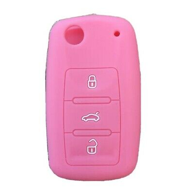 $4.96 • Buy Fit VW Golf Jetta 3 Buttons Smart Remote Key Fob Silicone Case Cover Pink