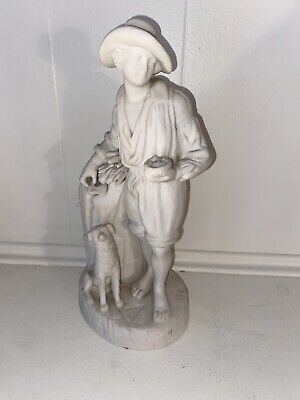 $ CDN112.05 • Buy Early Unmarked German White Bisque Porcelain Figure With Dog