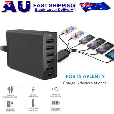 AU25.64 • Buy AU 50W 6-Port Charger USB Hub Charging Stand Station For Iphone 8 Plus X XR XS