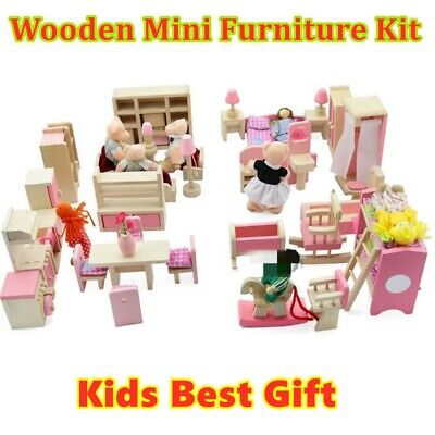 Dolls House Furniture Wooden Set People Dolls Toys For Kids Children Gift New UK • 8.49£