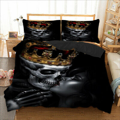 £24.99 • Buy Skull Duvet Cover With Pillowcases Beauty Gothic Bedding Set Single Double King