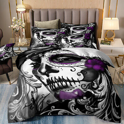 3D Skull Duvet Cover Girl Day Of The Dead Bedding Set With Pillowcases All Sizes • 16.99£