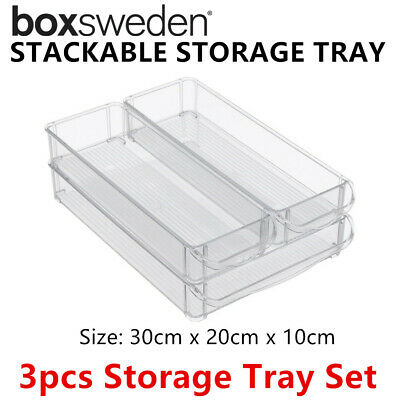 AU22.10 • Buy 3pc Stackable Acrylic Fridge Storage Tray Set Clear Container Food Organiser