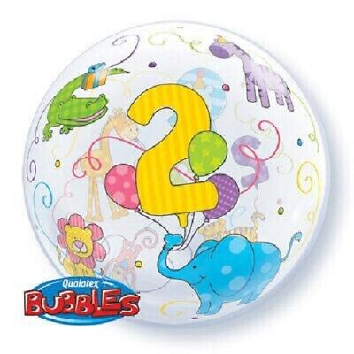 AU10.95 • Buy  2ND BIRTHDAY CELEBRATIONS    2nd B'day Smiling Zoo Animals 56cm Bubble Balloon!