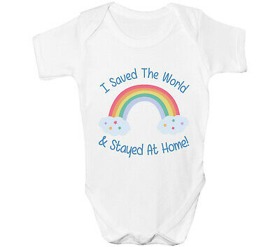 Rainbow Baby Grow Girls Boys Vest Support NHS I Saved The World And Stayed Home • 6.99£