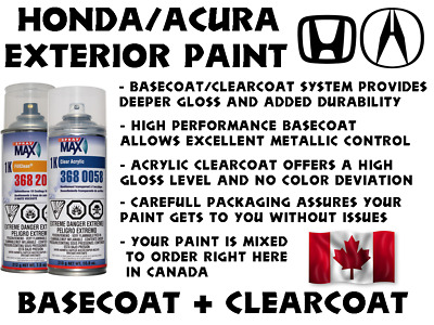 $ CDN49.99 • Buy Acura/honda Diy Car Paint Basecoat/clearcoat Spraycan Kit Many Colors To Choose