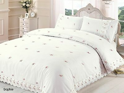 RAPPORT Sophie Cream/Pink Or White/Pink Embroidered Lace Trim Duvet Set • 26.99£