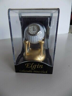 Elgin Golf Ball On Golden Tees Collectable Mini Clock, New In Display Box • 9.26£