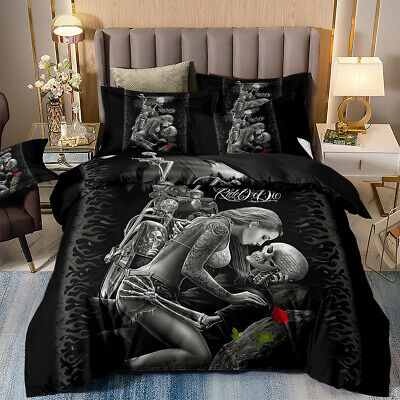 Ghost Biker Skull Girl Lover Rose Duvet Cover Pillowcase Gothic Love Bedding Set • 23.99£