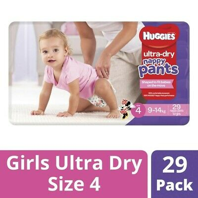 AU8.50 • Buy Huggies Ultra Dry Nappy Pants For Girls 9-14 Kg Size 4 29 Pack