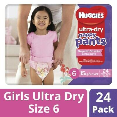AU8.50 • Buy 24Pck Huggies Soft Stretch Ultra Dry Nappy Pants For Girls Size 6 15Kg & Over