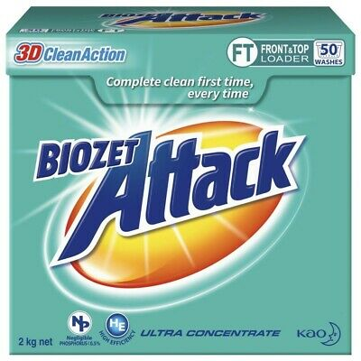 View Details Biozet Attack High-Performance Low Suds Front Top Loader Laundry Powder 2Kg • 20.00AU