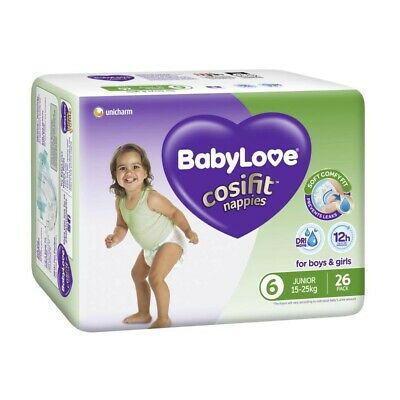 AU14.70 • Buy Babylove Unisex Cosifit Junior Nappy 15-25 Kg Size 6 26 Pack