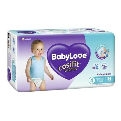AU14.70 • Buy Babylove Unisex Cosifit Toddler Nappy 9-14 Kg Size 4 34 Pack