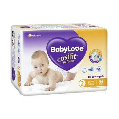AU14.70 • Buy Babylove Unisex Cosifit Infant Nappy 3-8 Kg Size 2 44 Pack
