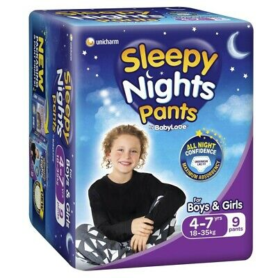 AU9 • Buy Babylove Unisex Sleepy Nights Pants 4-7 Years 18-35 Kg 9 Pack