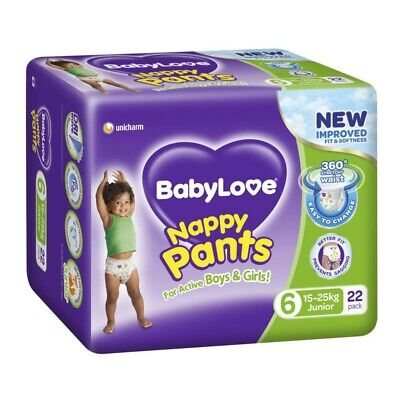 AU17.85 • Buy Babylove Unisex Stretchy Junior Nappy Pants 15-25 Kg Size 6 22 Pack