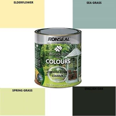 Ronseal Woodland Trust Colours Garden Furniture Shed Wood Paint 250-750 2.5l • 9.99£
