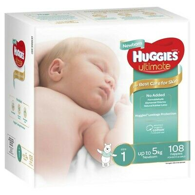 AU30 • Buy NEW 108Pck Huggies Unisex Ultimate Leakage Protection Newborn Nappy S1 Up To 5Kg