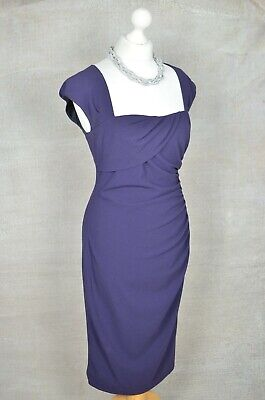 AU53.50 • Buy LK BENNETT Purple Formal Gathered Pencil Square Neck Dress 14