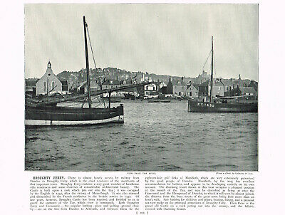 Broughty Ferry Dundee Scotland From The River Antique Picture Print 1895 RTC#222 • 6.99£