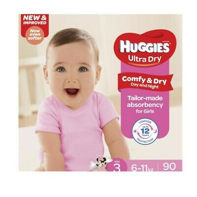 AU30 • Buy 90Pc Huggies Comfy & Dry Absorbent Ultra Dry Nappy For Girls Size 3 6-11Kg