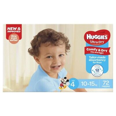 AU30 • Buy 72Pc Huggies Comfy & Dry Absorbent Ultra Dry Nappy For Boys Size 4 10-15Kg