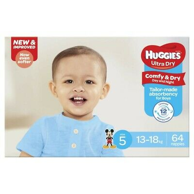 AU30 • Buy Huggies 64Pc Comfy & Dry Absorbent Ultra Dry Nappy For Boys Size 5 13-18Kg