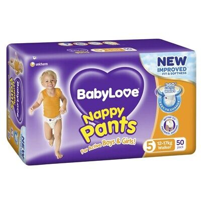 AU27 • Buy 50Pk Babylove Unisex Stretchy Fit & Soft Walker Nappy Pants Size 5 12-17Kg