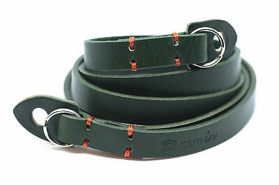 Green Leather Camera Strap With Ring Connection By Cam-in (Orange Stitching) • 26.99£