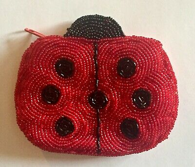 $8 • Buy Vintage Beaded Ladybug Coin Purse Wallet New Old Stock Never Used