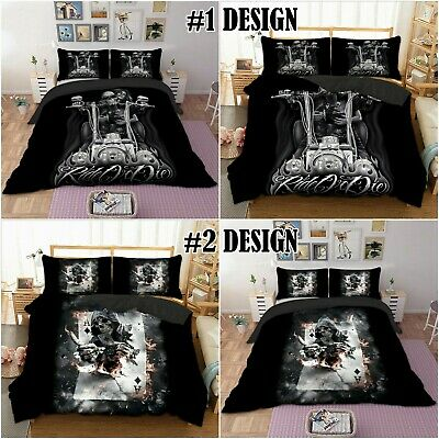 Skull Duvet Cover Pillowcase Gothic Skeleton Ghost Bedding Single Double King • 23.99£