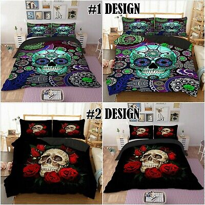Sugar Skull Floral Duvet Cover Pillowcase Day Of The Dead Flower Bedding Set • 23.99£