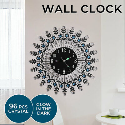 AU39.99 • Buy 3D Wall Clock Large Modern Crystal Luxury Black Glass Round Dial Home Office