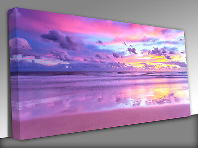 £21.99 • Buy Beach Clouds Pink Sunset  Panoramic Canvas Wall Art Picture Print