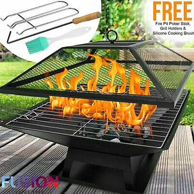 Square Fire Pit Bbq Grill Heater Outdoor Garden Firepit Brazier Patio Outside • 27.99£